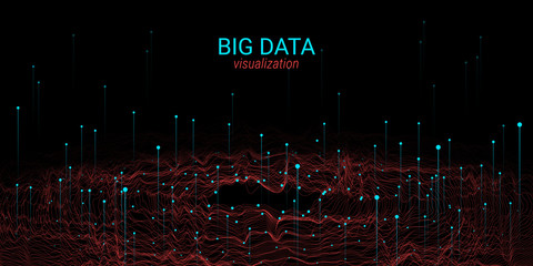 Wave 3D Big Data Visualization. Analysis Infographic.