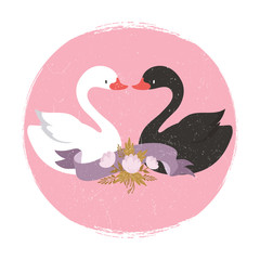 Two cute cartoon character swans in liove banner. Interracial love vector concept illustration