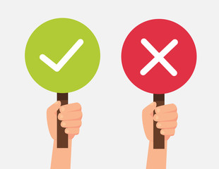 Hand hold signboard green check mark and red X mark Right and Wrong for feedback. Sign icon concept. Vector stock.