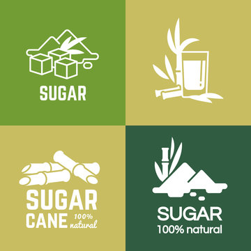 White sugar label, logo and badge of collection vector design illustration. Cane and beet sugars