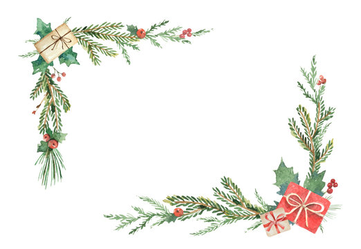Watercolor Christmas wreath with fir branches and place for text.