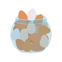 container with eggs isolated icon