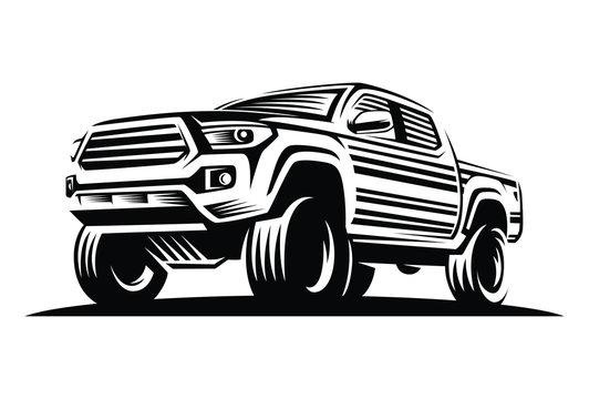 pick up car monochrome label, emblem, badge or logo isolated on white background