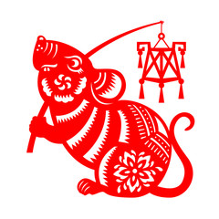Red paper cut rat zodiac hold lantern sign isolate on white background vector design