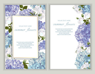 Vector banners set with roses and hydrangea flowers.