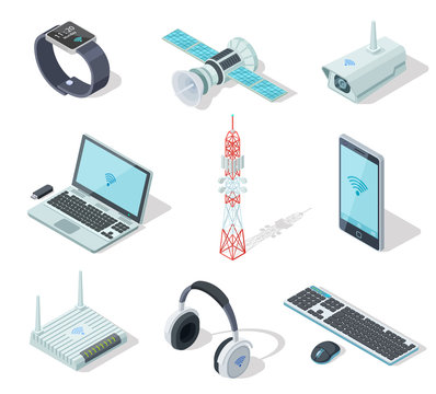 Electronic devices. Isometric wireless gadgets connection. Remote controller, cell phone router. Connection technology 3d vector set. Illustration of device electronic wireless