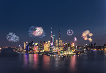 Fireworks in Shanghai at night