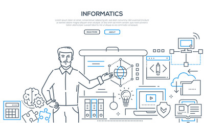 Informatics - modern colorful line design style banner