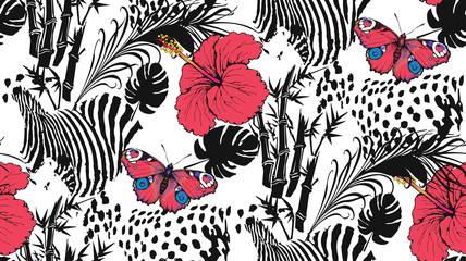 Pattern of hibiscus, zebra, leopardand and butterfly. Suitable for fabric, wrapping paper and the like. Vector illustration