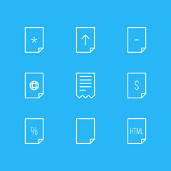 Vector illustration of 9 file icons line style. Editable set of contract, important, empty and other icon elements.