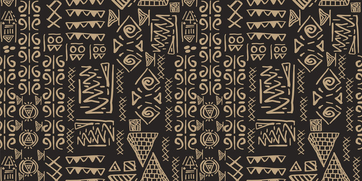Tribal pattern vector. Seamless ethnic handmade with stripes vector illustration.