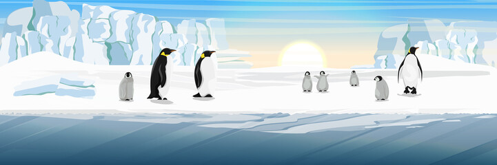 A flock of realistic imperial penguins with many little chicks. The glacier and the snow-covered plains and the cold blue sea. Landscapes of the Antarctic.