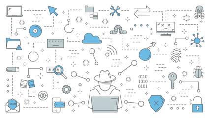 Hacker concept. Cyber spy steal digital data