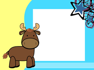 cute plush moose cartoon picture frame background in vector format