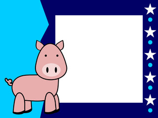 cute plush pig cartoon picture frame background in vector format