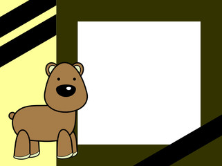 cute plush teddy bear cartoon picture frame background in vector format