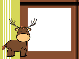 cute plush deer cartoon picture frame background in vector format