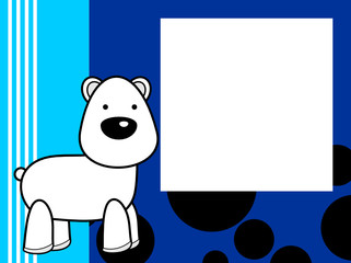 cute plush polar bear cartoon picture frame background in vector format