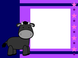 cute plush bull cartoon picture frame background in vector format