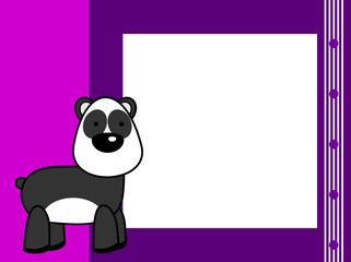 cute plush panda bear cartoon picture frame background in vector format