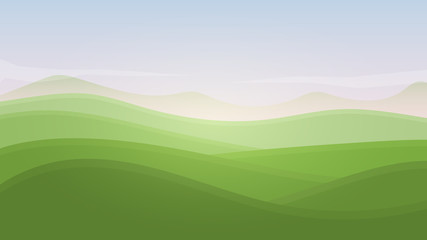 Green landscape summer rural valley nature banner hills template with sky, mountains and meadows