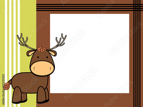 cute plush deer cartoon picture frame background in vector format ...