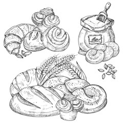 Vector bakery product hand drawn elements for menu, flyers, banner, background illustration