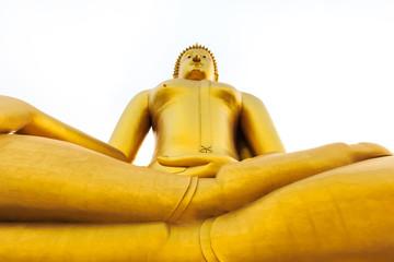 Angel view Golden buddha statue on white background