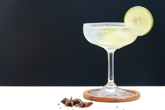 daiquiri cocktail on wooden background