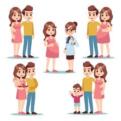 Happy pregnancy. Pregnant woman mom, man father and healthy lovely newborn baby. Young family cartoon vector characters set. Illustration of mother pregnancy, pregnant mom, father with baby mother