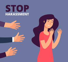 Obraz Sexual harassment concept. Woman and mans hands. Stop abuse, against violence vector background. Stop harassment and abuse, no sexual violence illustration - fototapety do salonu