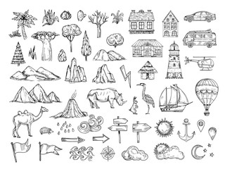 Map elements. Sketch hill and mountain, tree and bush, buildings and clouds. Vintage hand drawn vector symbols for cartography. Illustration of house and car, lighthouse and ship, animal and pointer