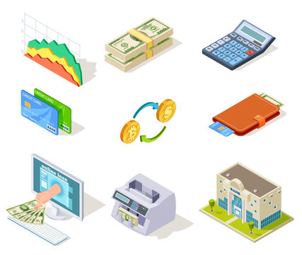 Bank isometric icons. Internet banking, money and checkbook, loans and cash currency, credit card business finance vector 3d symbols. Web banking icon, money isometric finance illustration