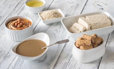 Assortment of sesame seed food