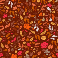Vector seamless pattern of autumn leaves and flowers. Background for textile or book covers, wallpapers, design, graphic art, printing, hobby, invitation.