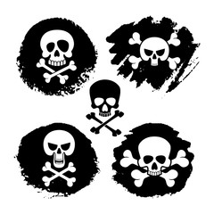 White piracy skull and crossbones vector icons. death, scary symbols and grunge decor illustration