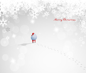 Abstract Christmas vector background illustration with walking Santa Claus, his big bag full of presents and snowflake background around.