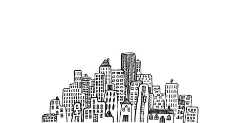 Black and white hand draw vector illustration of cityscape with different height buildings. Oldstyle and also skyscrapers buildings.