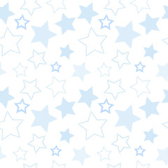 Simple blue striped and doted stars on white geometric seamless pattern, vector