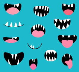 Vector monster mouths, open and closed with tongues and teeth