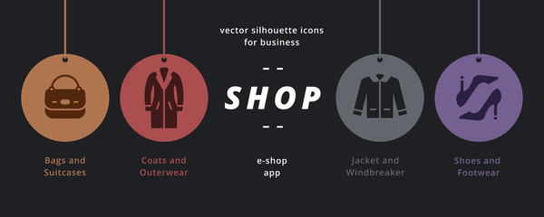 Clothes shop icons. Universal set of clothes silhouette style.