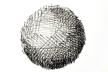 Ink drawing or ink pen line drawing of a sphere. A sphere drawing consisting of black ink lines. Isolated on white.