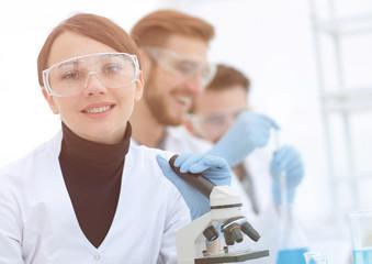 female scientist in a laboratory.