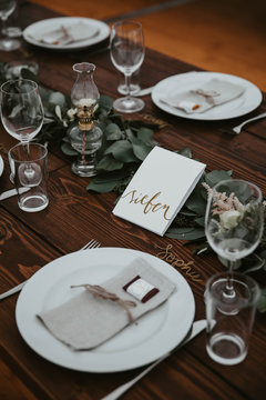 Close up of decorated wedding place setting
