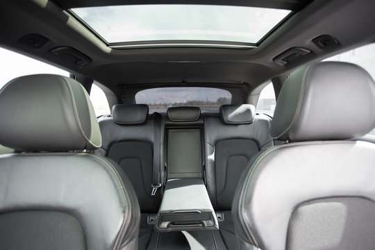 interior of modern car with leather seats