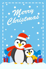 Funny cute greeting card with xmas penguin