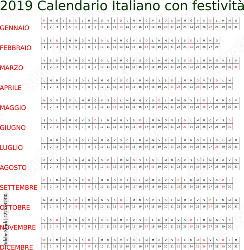 Calendario 2019 Con Le Festivita.Calendario 2019 Italiano Con Festivita Stock Image And