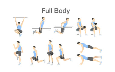 Set of people doing exercises in the gym