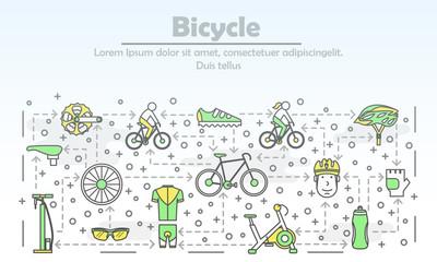 Vector thin line art bike poster banner template
