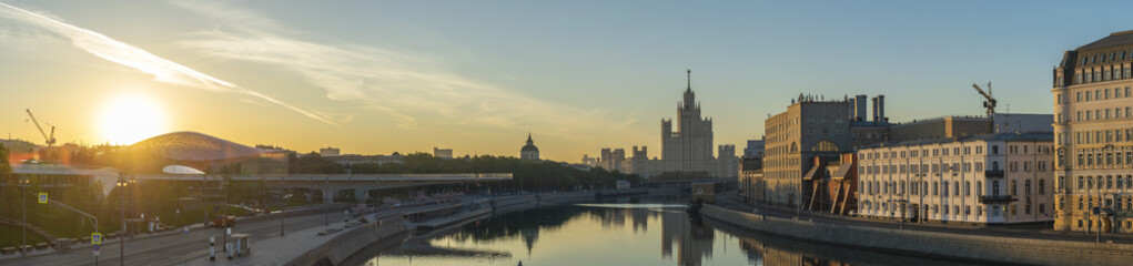 Moscow Russia, sunrise panorama city skyline at Moscow River